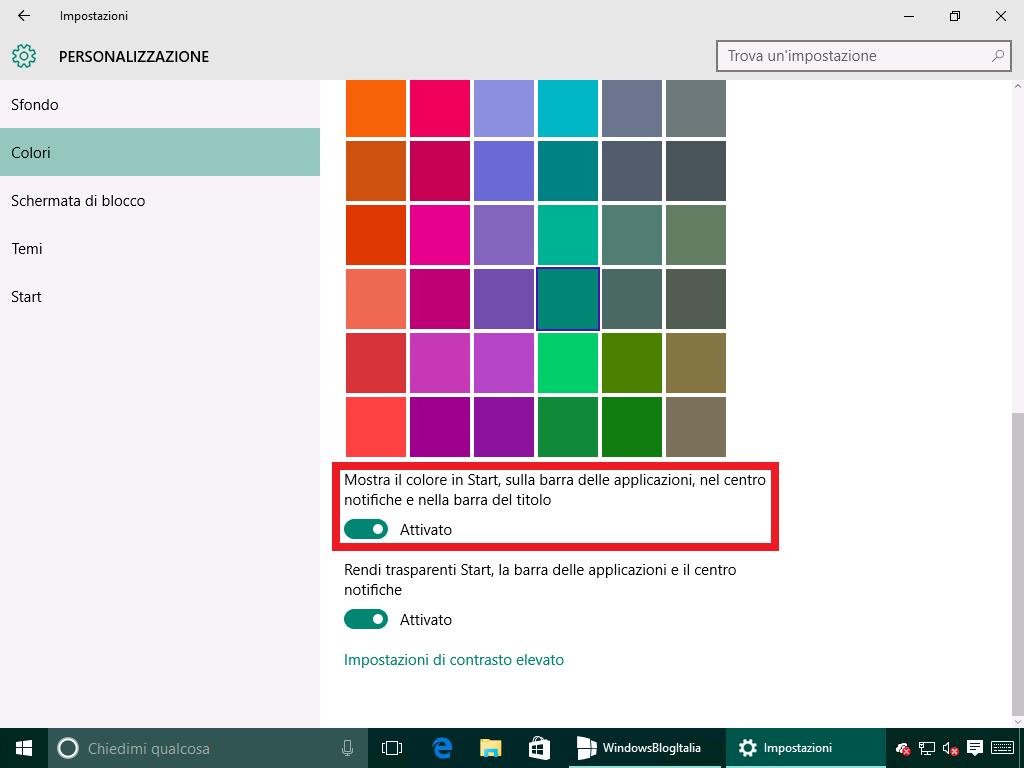 Mostra il colore in Start, sulla barra delle applicazioni, nel centro notifiche e nella barra del titolo