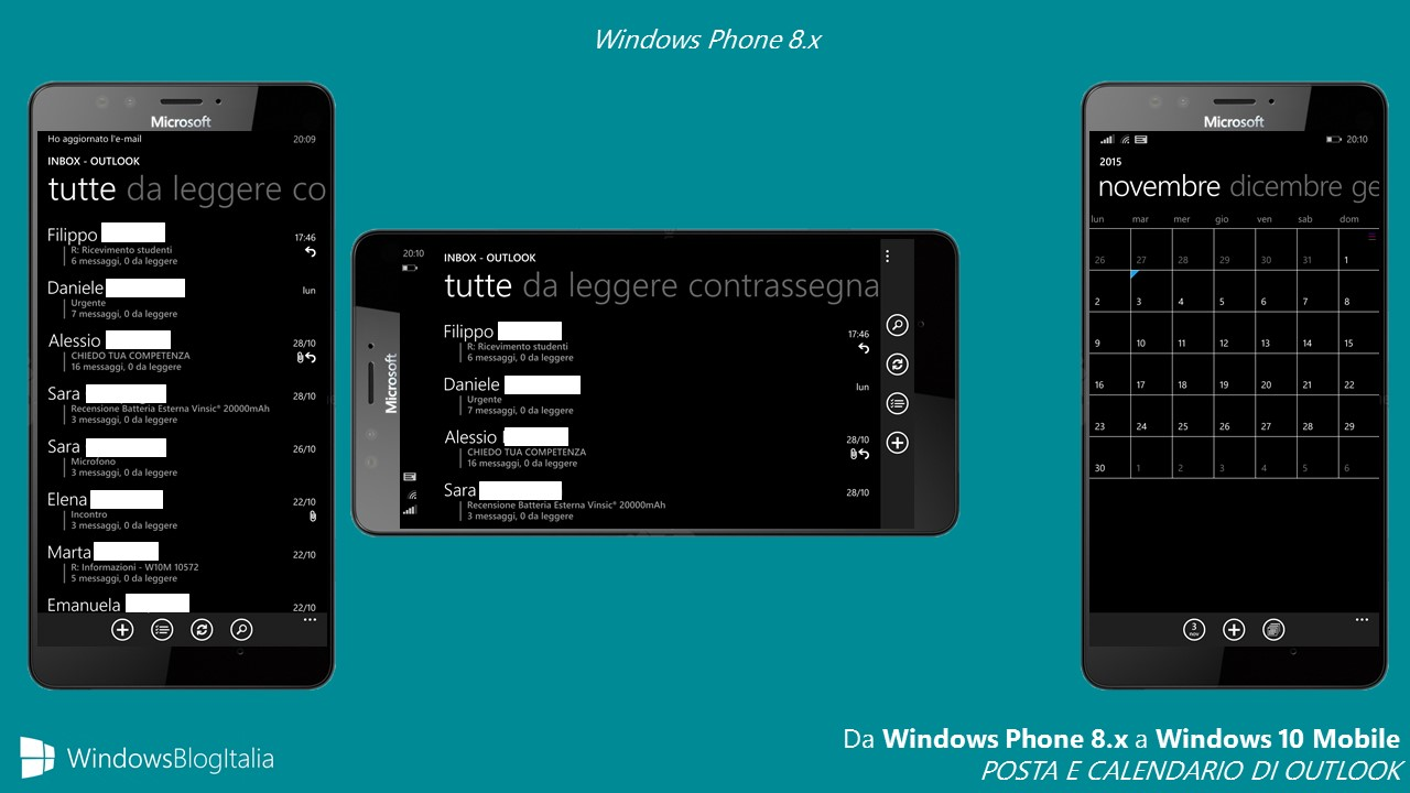 POSTA E CALENDARIO DI OUTLOOK - Windows Phone
