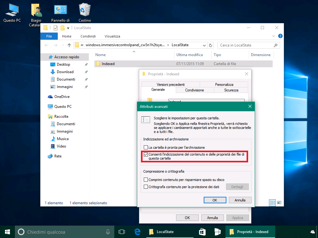 Ricerca app Impostazioni Windows 10 - Attributi avanzati BIS