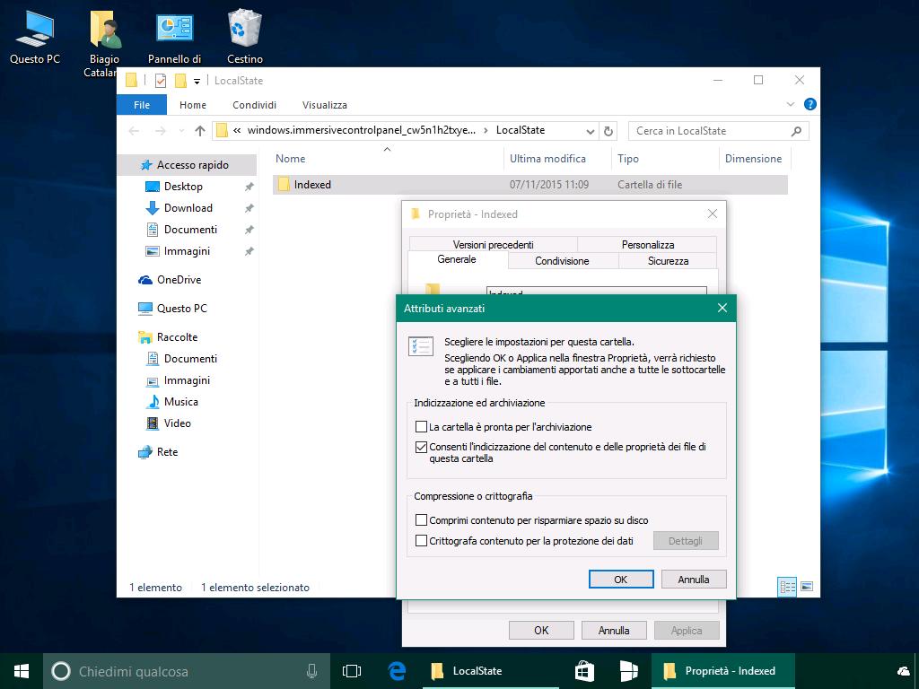 Ricerca app Impostazioni Windows 10 - Attributi avanzati