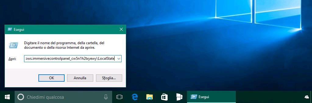 Ricerca app Impostazioni Windows 10 - Esegui