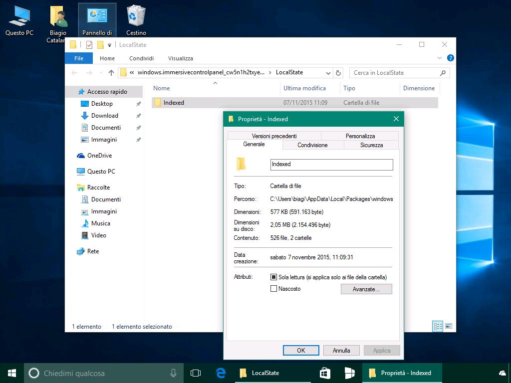 Ricerca app Impostazioni Windows 10 - Indexed