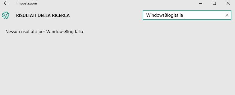 Ricerca app Impostazioni Windows 10
