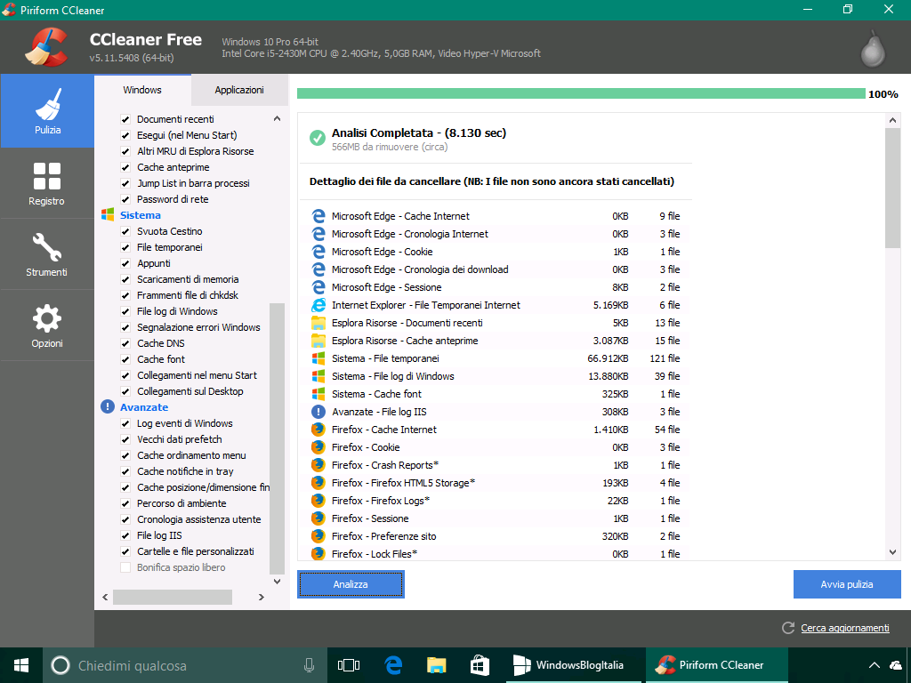 Rimuovere i file temporanei - Windows 10