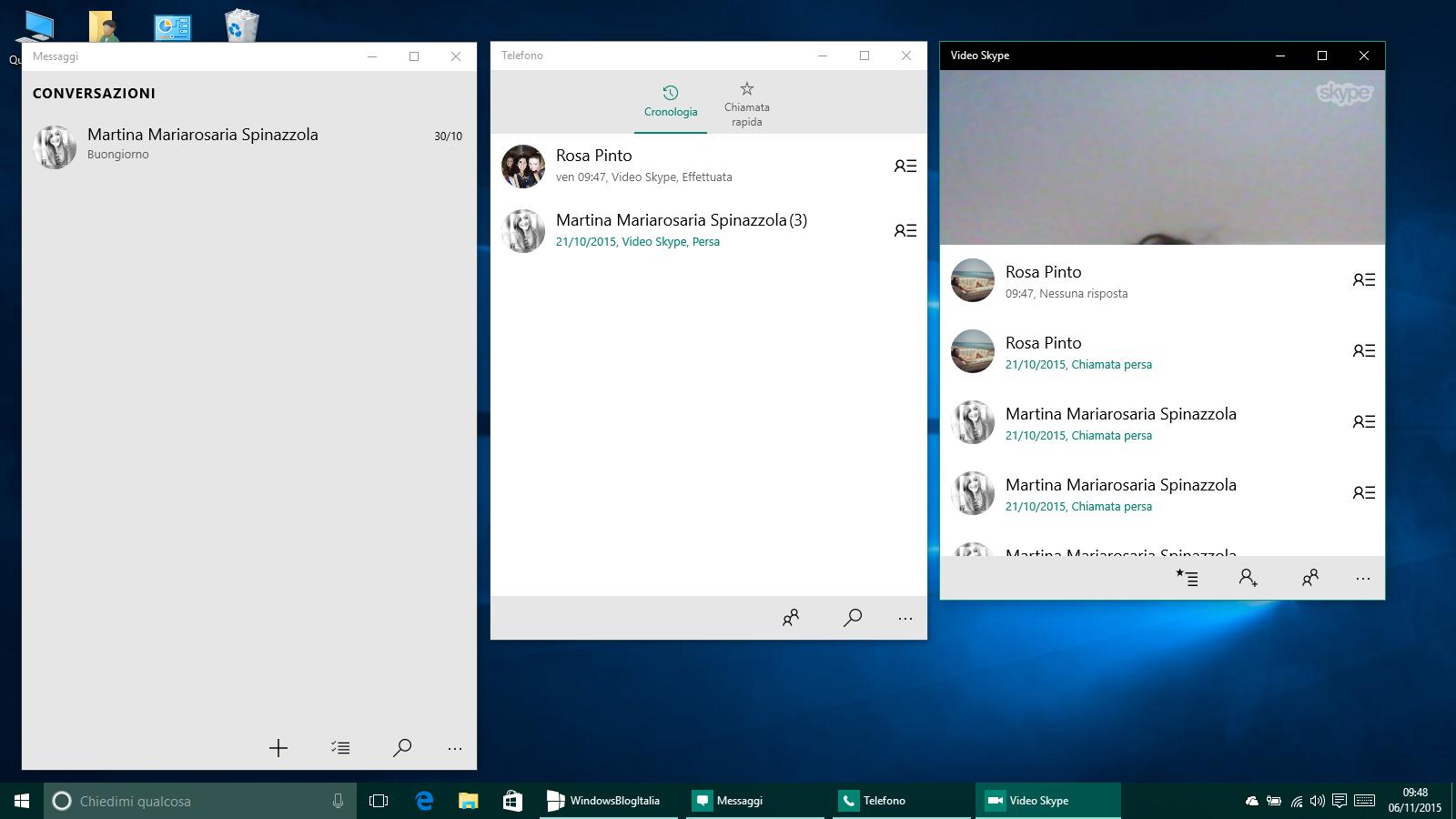 Telefono, messaggi e video skype