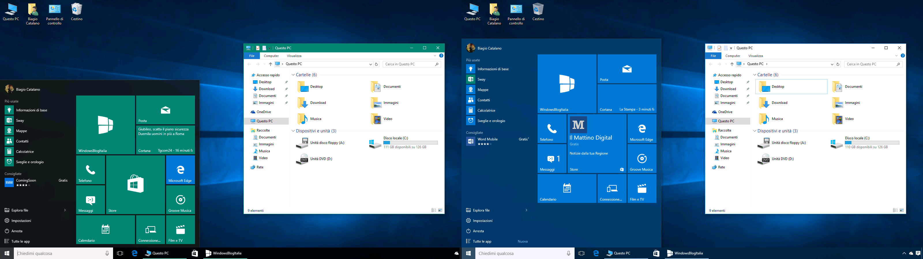 Tile bar e taskbar Windows 10