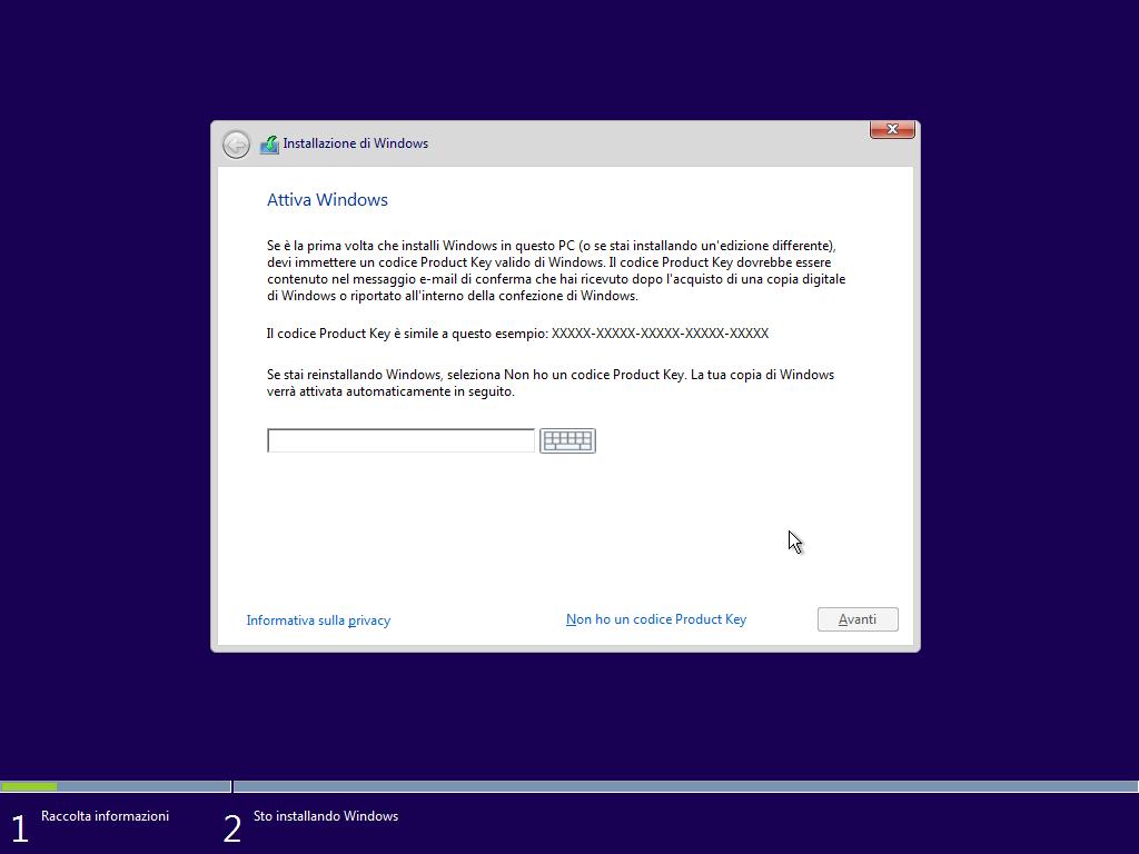 Attivazione di Windows 10 TH2 - Installazione pulita