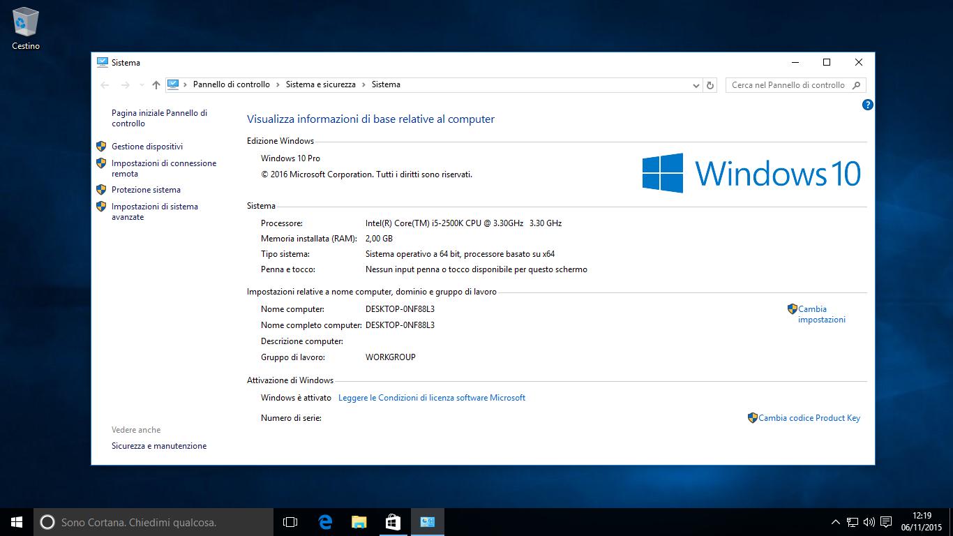 Attivazione di Windows 10 TH2 - Attivato