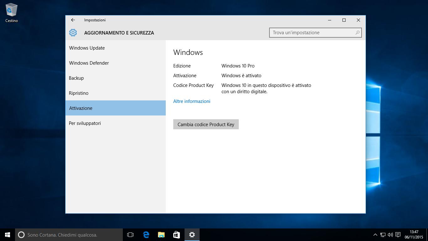 Attivazione di Windows 10 - Finale