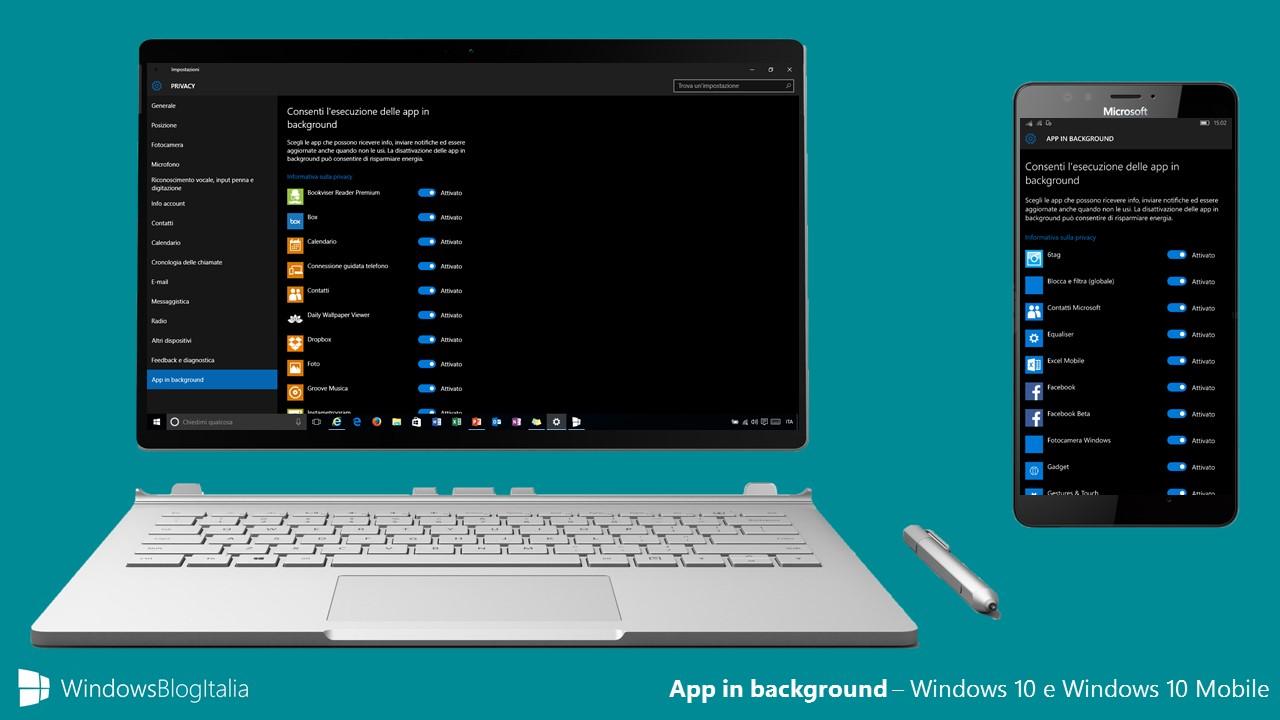 App in background - Windows 10 e Windows 10 Mobile