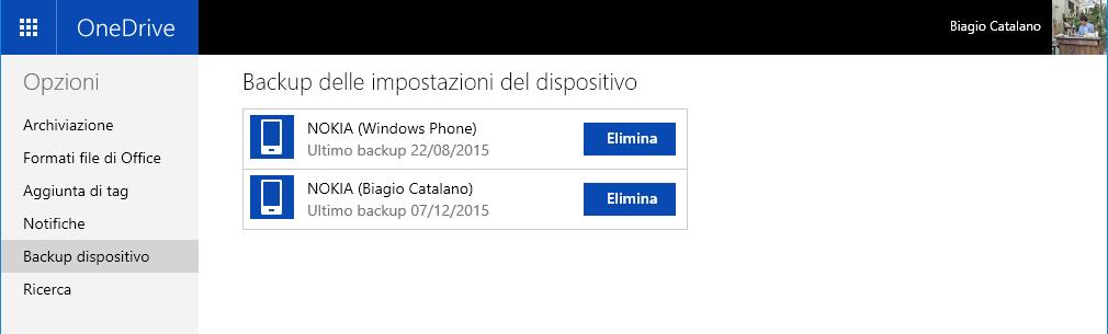Backup delle impostazioni del dispositivo OneDrive
