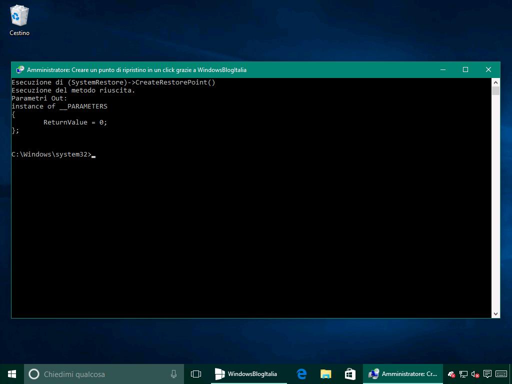 Creazione punto di ripristino - Windows 10 10586