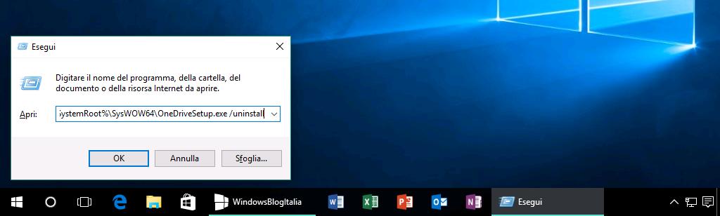 Disinstallare OneDrive