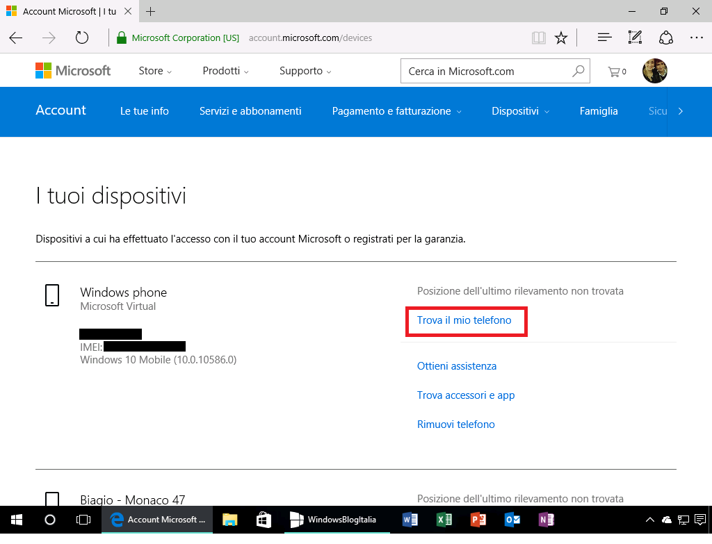 I tuoi dispositivi 2 - Account Microsoft