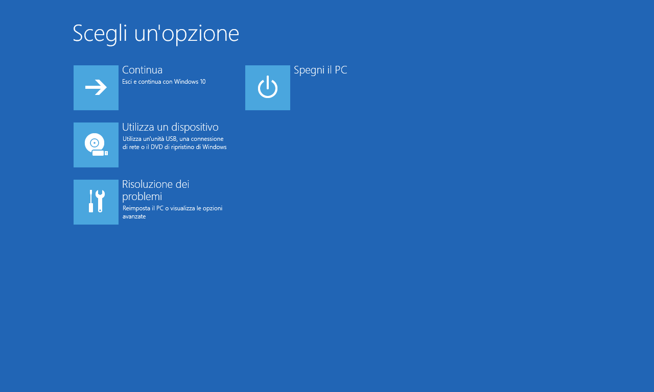 Opzione avanzate - Windows 10 10586