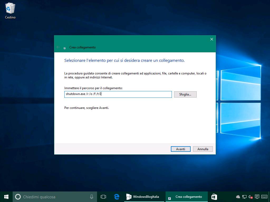 Opzione avanzate collegamento rapido 1 - Windows 10 10586