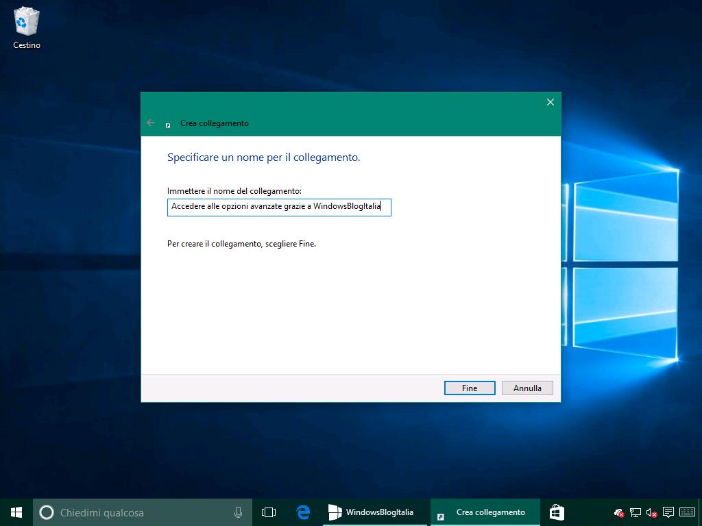 Opzione avanzate collegamento rapido 2 - Windows 10 10586