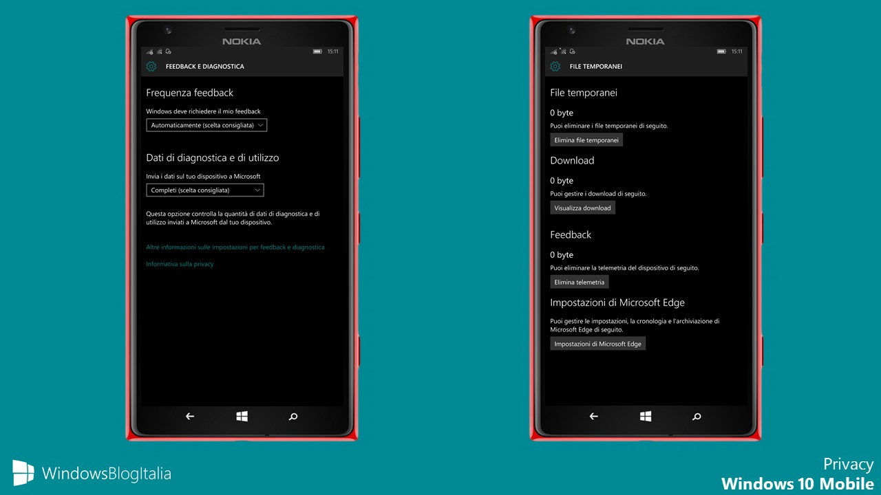 Privacy Windows 10 Mobile