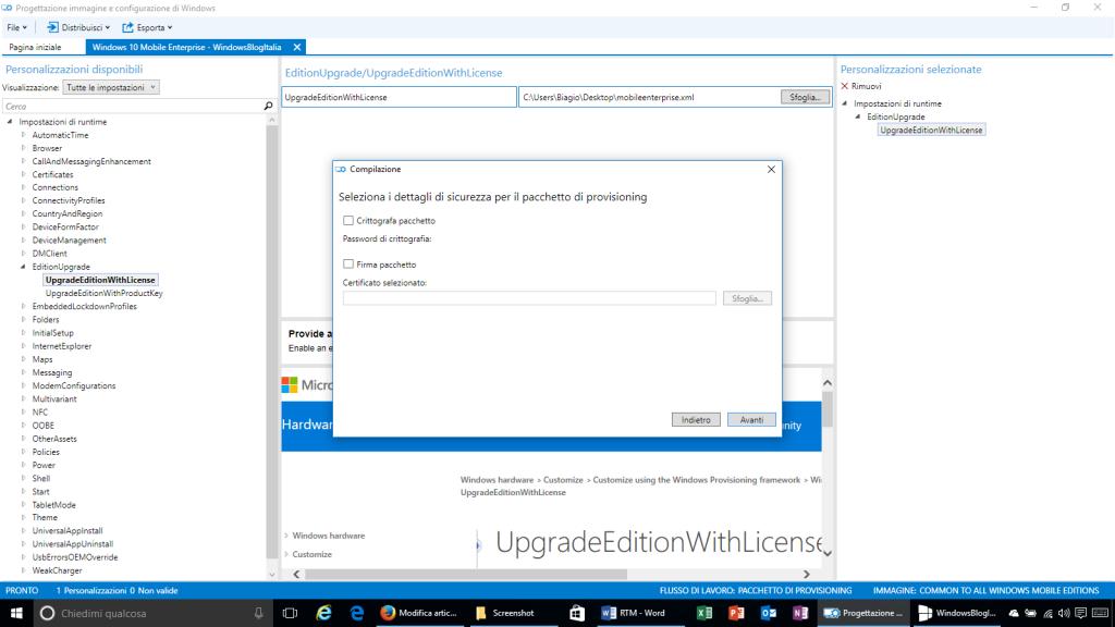 Progettazione immagine e configurazione di Windows - 10