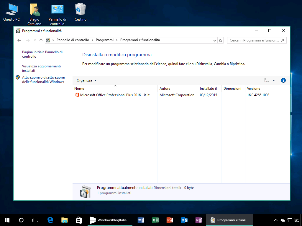 Programmi e funzionalita - OneDrive Windows 10