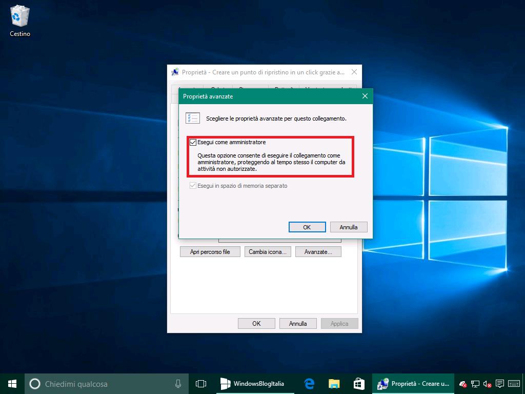 Ripristino configurazione di sistema proprieta collegamento 2 - Windows 10 10586