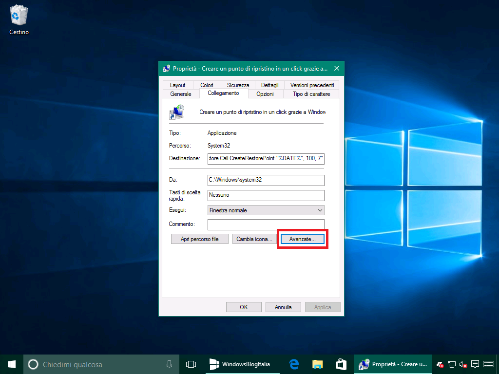 Ripristino configurazione di sistema proprieta collegamento - Windows 10 10586