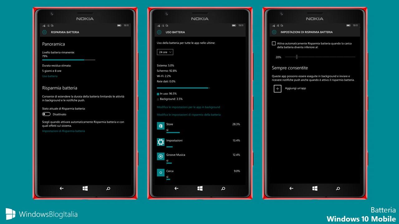 Risparmia batteria - Windows 10 Mobile