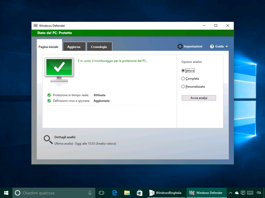 Attivare la funzionalit anti adware di windows defender for Window defender update