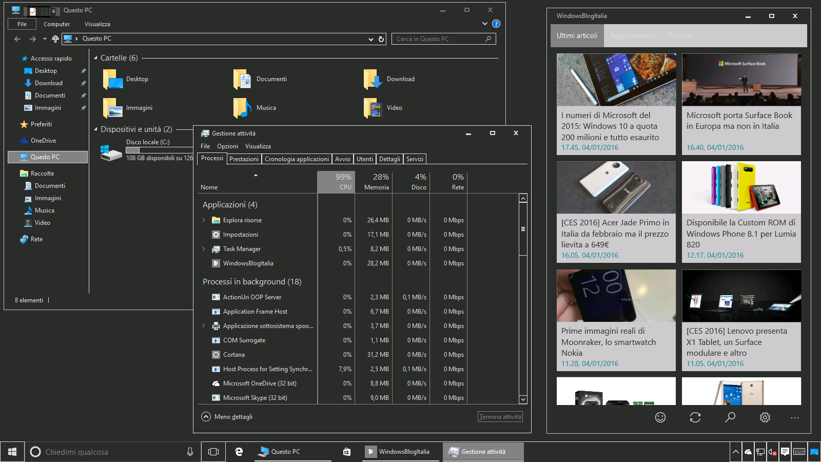 Tema nero Windows 10 10586