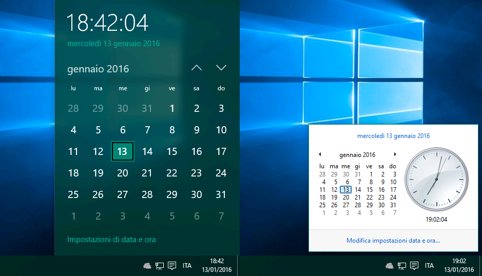 Calendario Windows 10 Su Desktop.Come Ripristinare Il Vecchio Data E Ora In Windows 10