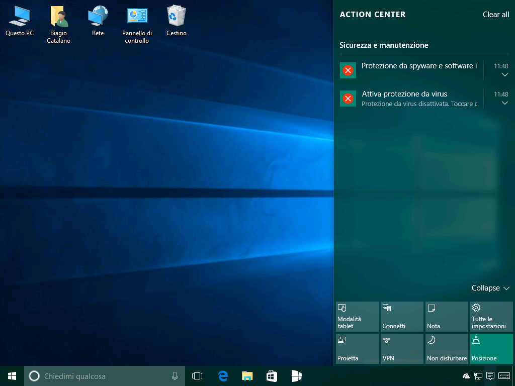 Centro notifiche - Windows 10 build 14271