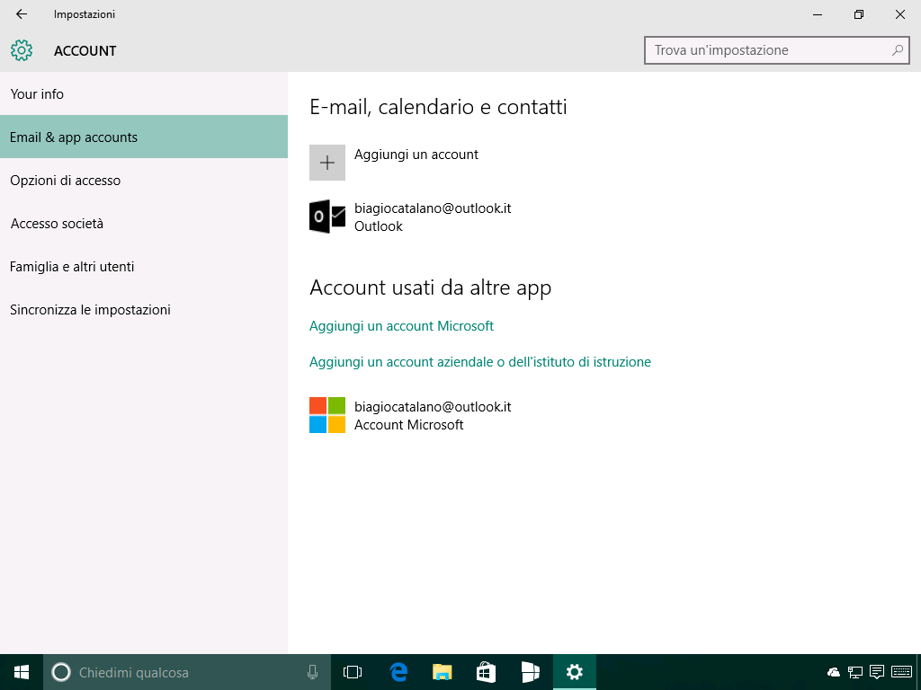 Impostazioni - Account - Email e app accounts - Windows 10 14271