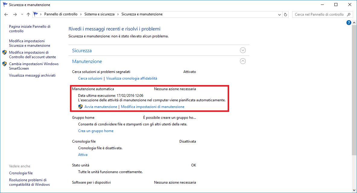 Manutenzione automatica - Windows 10