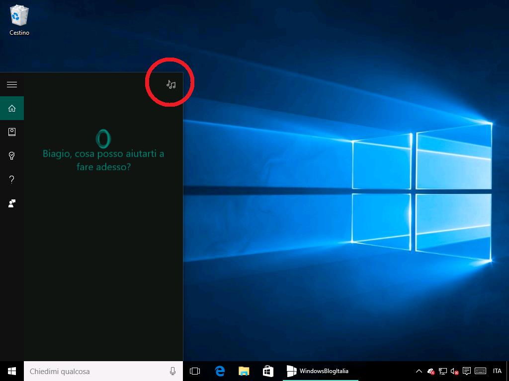 Ricerca musica Cortana