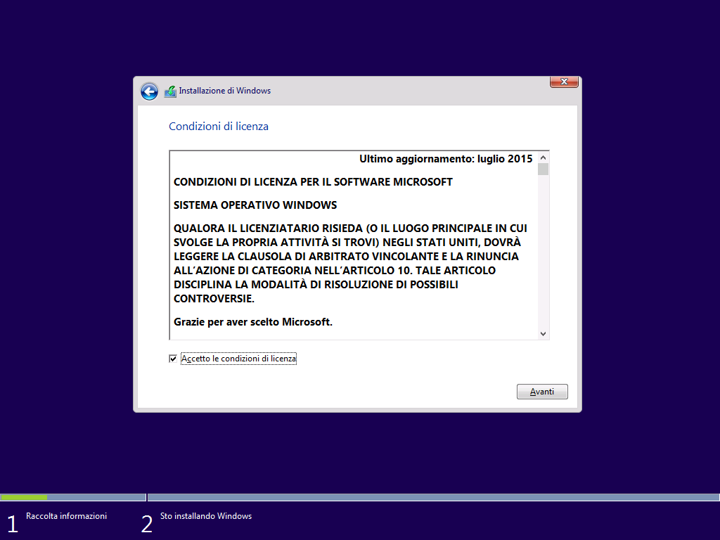 condizioni di licenza Windows 10