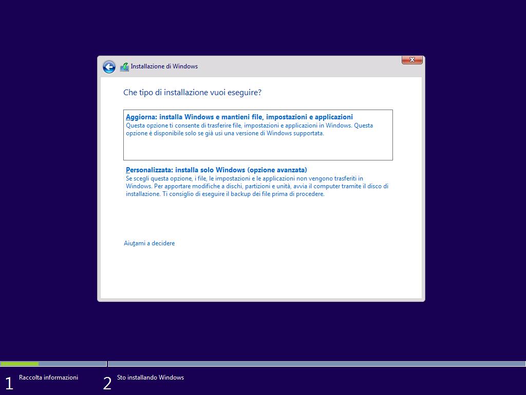 installazione personalizzata Windows 10