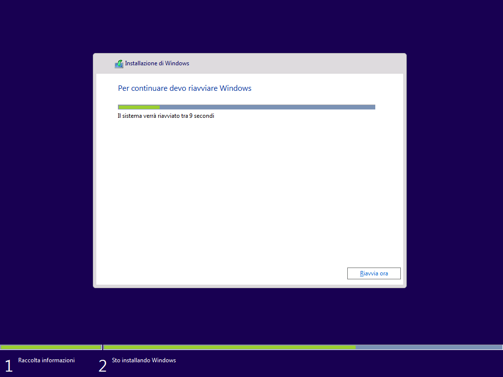 riavvio installazione Windows
