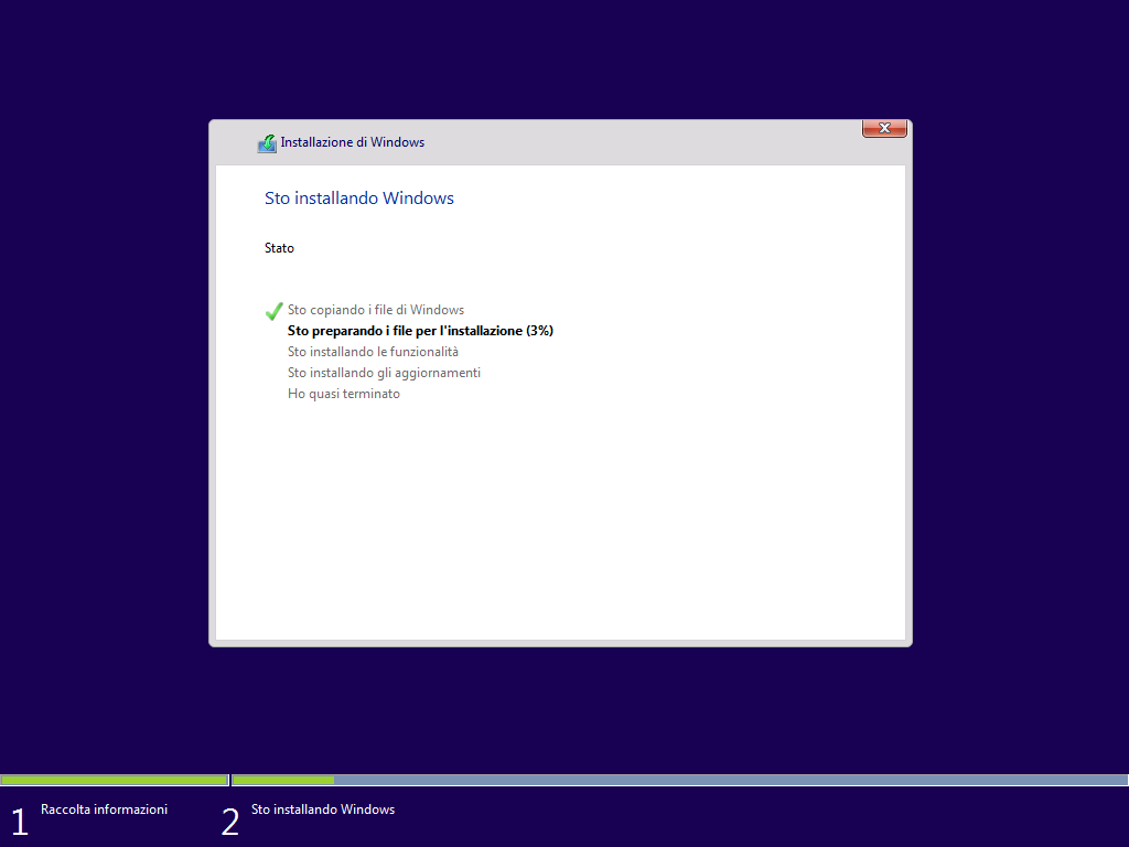 sto installando Windows 10