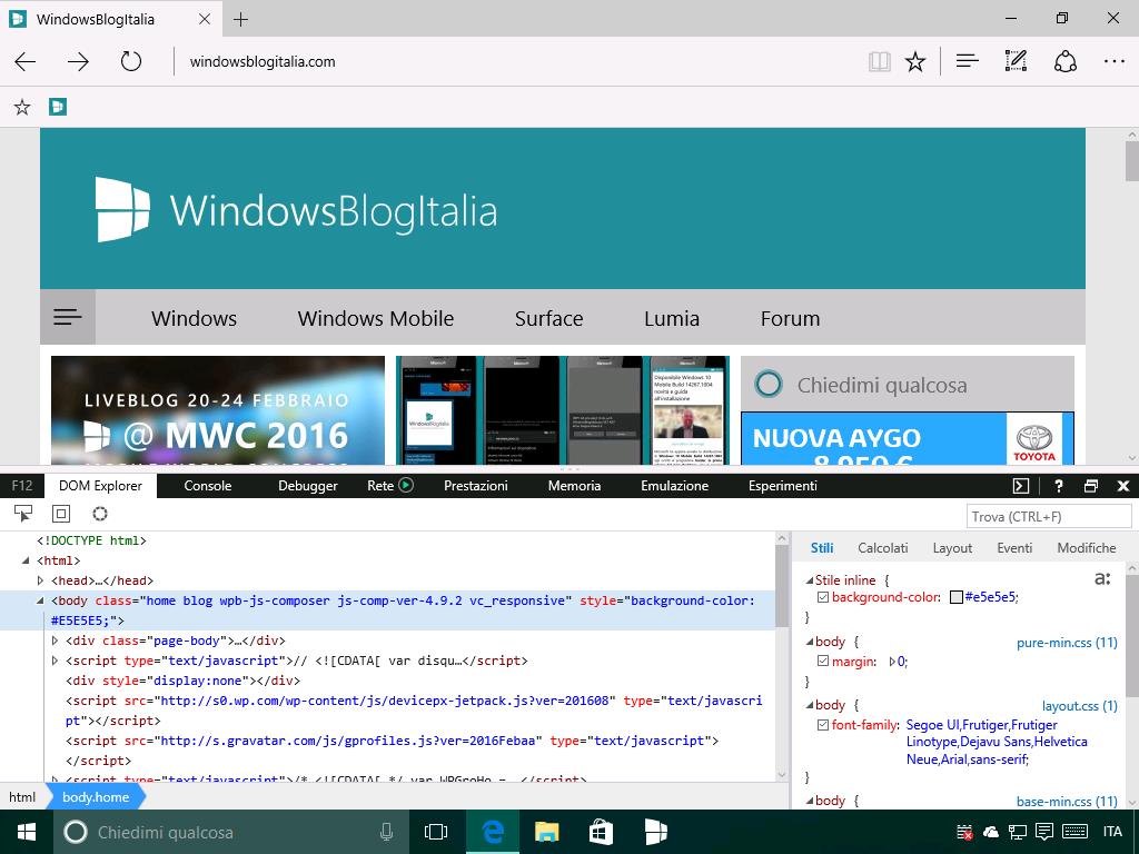strumenti sviluppatori windows 10 14271