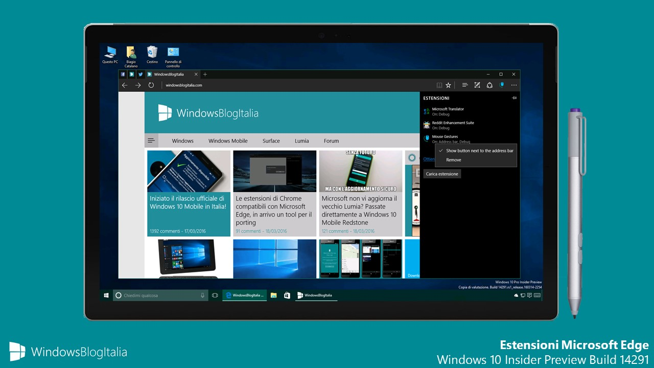 Estensioni Microsoft Edge - Windows 10 Insider Preview Build 14291