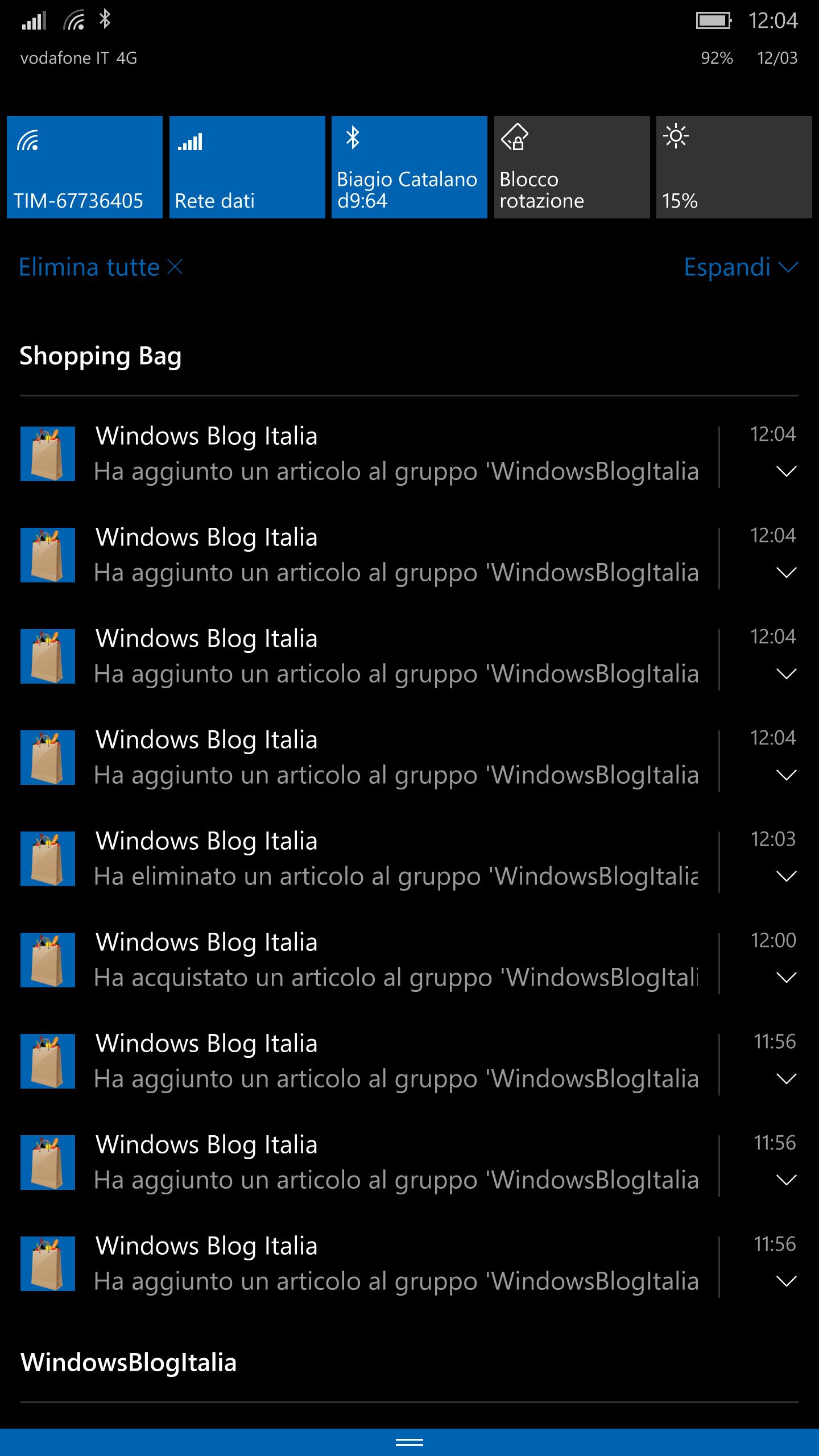 Shopping Bag - Notifiche