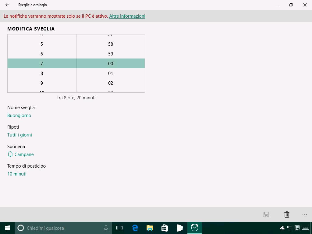 Sveglie e orologio - Windows 10 Build 14291