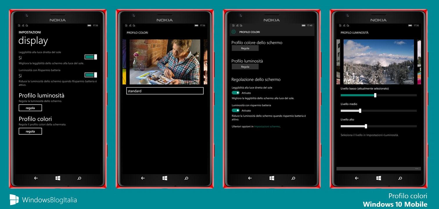 display - Profilo colori - Windows 10 Mobile