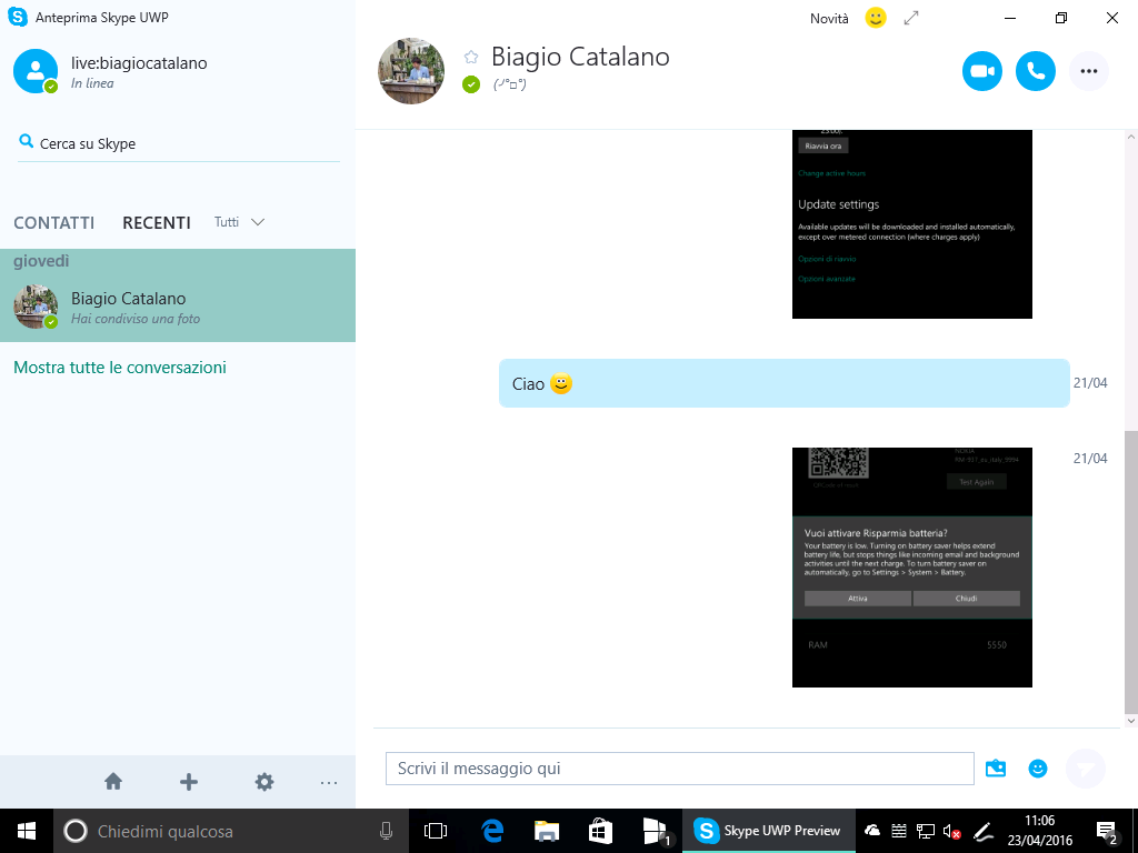 Anteprima Skype UWP