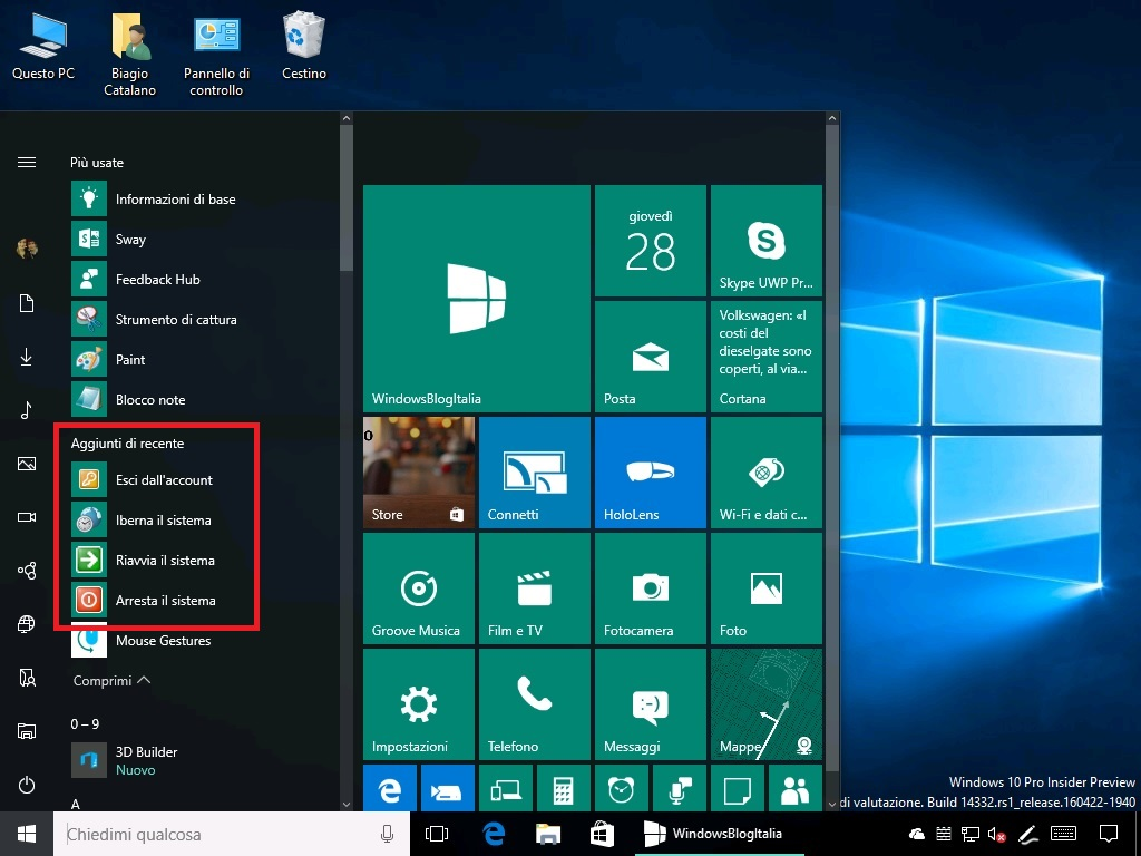 Arrestare, riavviare, hibernare il sistema con Cortana Windows 10