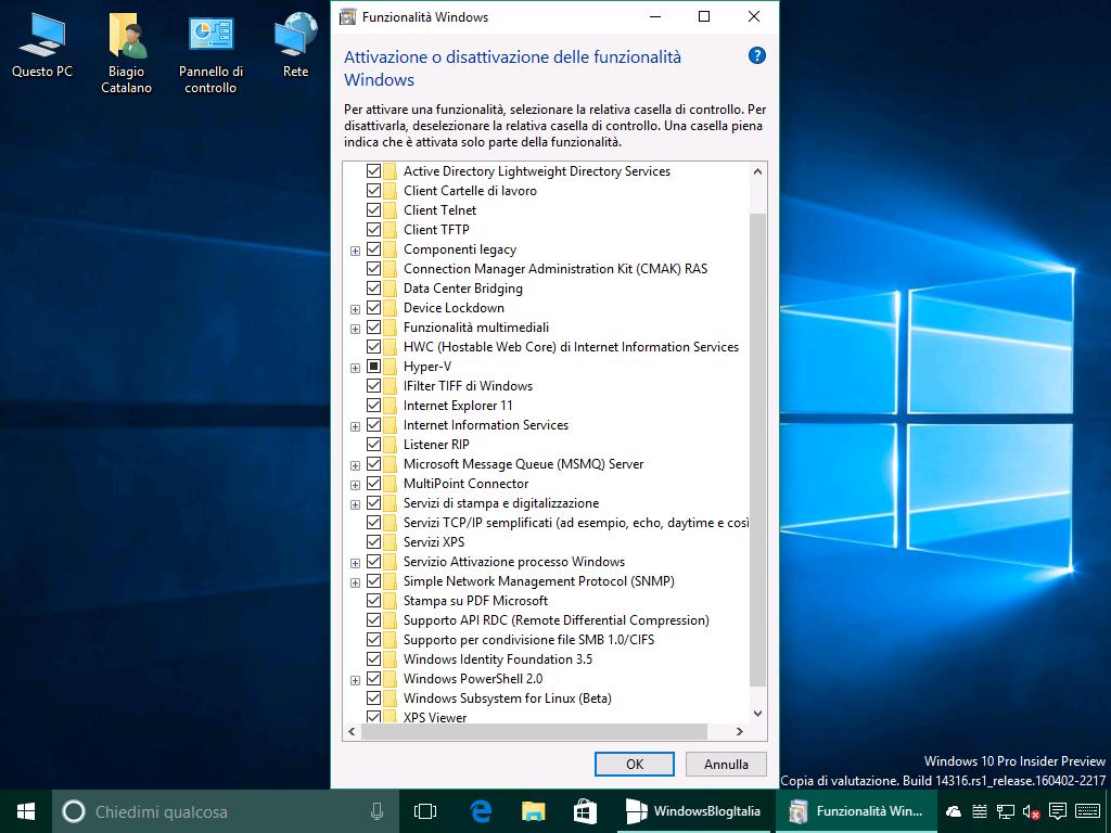 Attiva - disattiva funzionalita Windows - Redstone