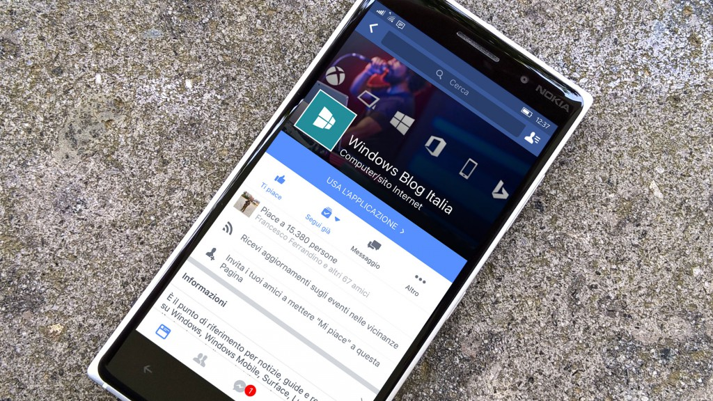 Facebook per Windows 10 Mobile