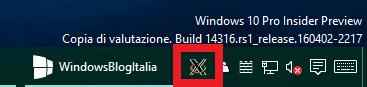 Icona Xming barra delle applicazioni