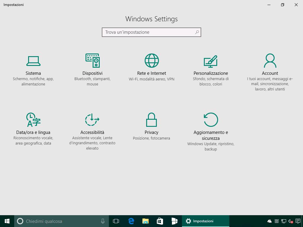 Impostazioni - Windows Settings + box ricerca