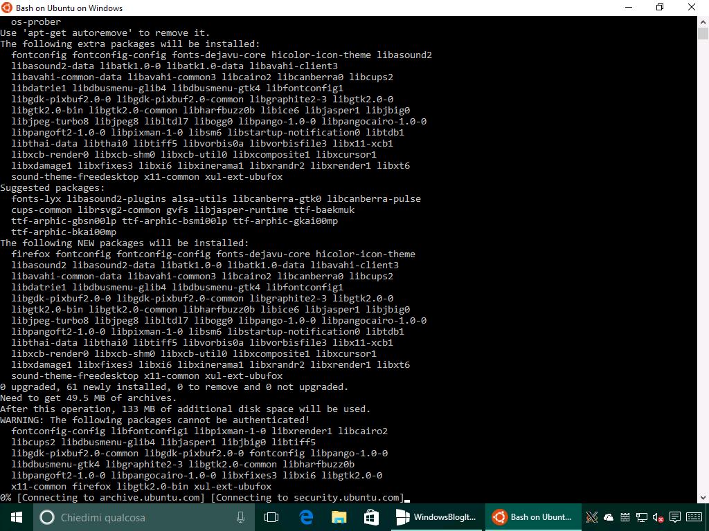 Installazione Mozilla Firefox Linux in Windows 10